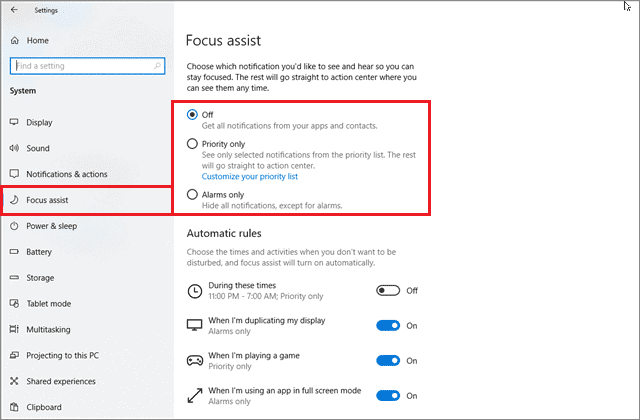 To open the Focus assist tab and mute notifications temporarily