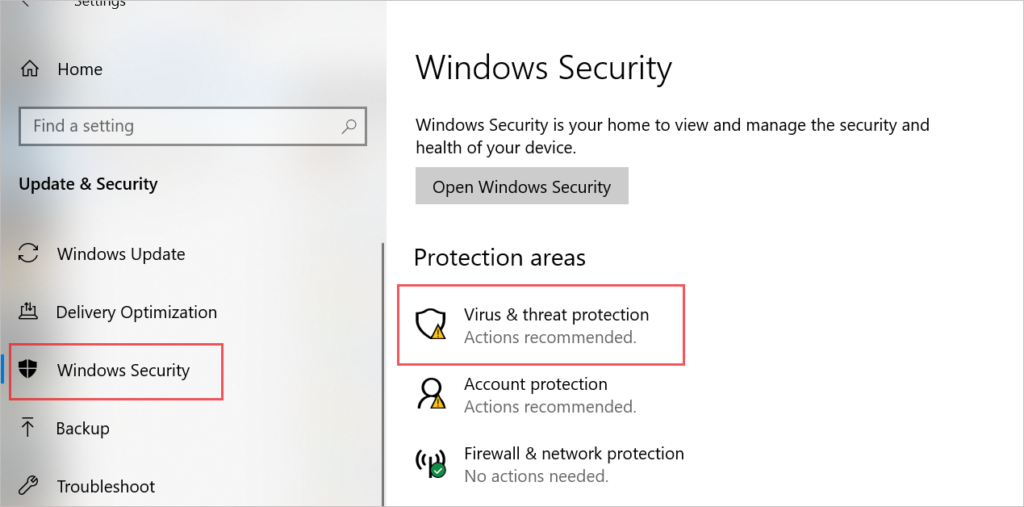Open Virus & threat protection to fix Kernel Security Check Failure in Windows 10