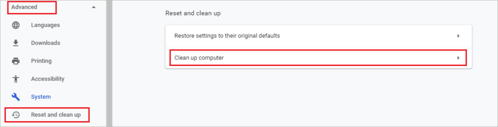 Open Clean up computer settings in Chrome