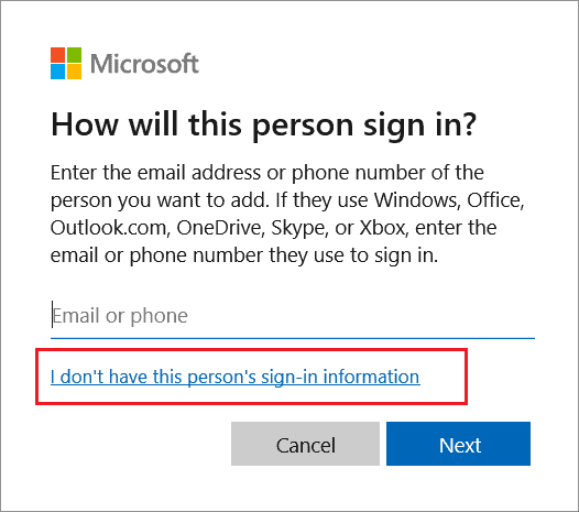 Click on Add someone else to this PC to create a new user account