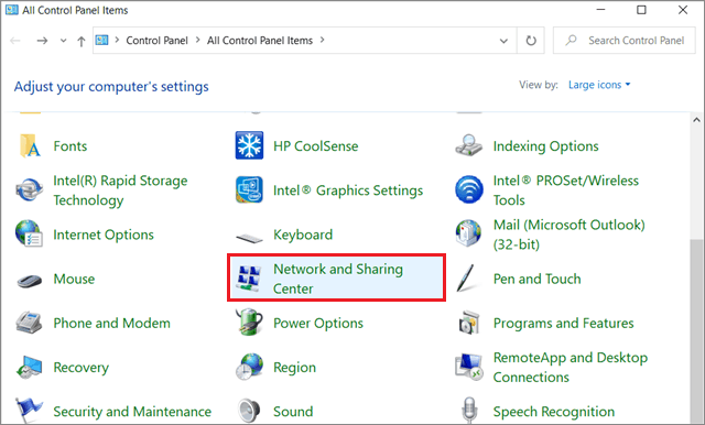 Select Network and Sharing Center