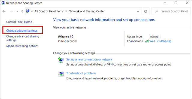 Click on change adapter settings