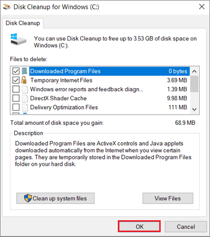 Select the temporary files and click OK