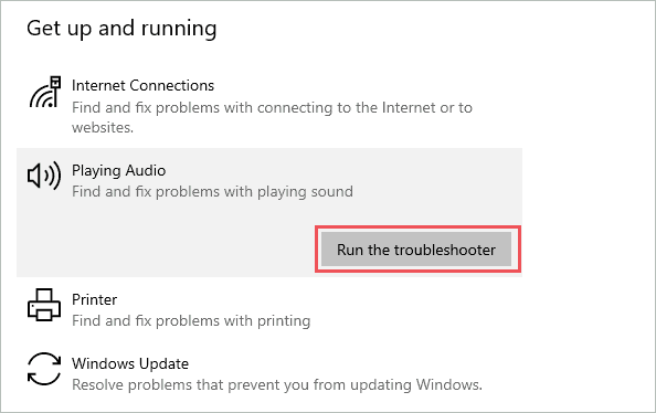 Run Playing Audio troubleshooter