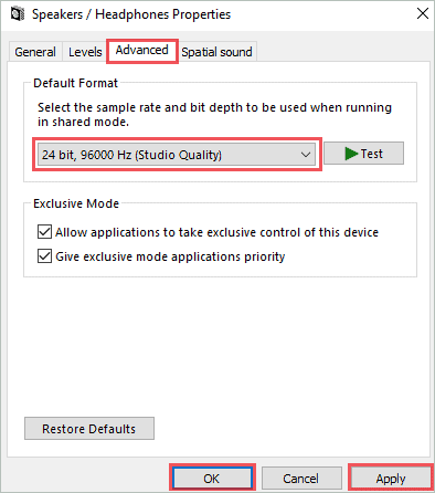 Change default sound format