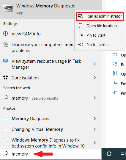 Run Windows Memory Diagnostics as administrator to fix Kernel Security Check Failure in Windows 10