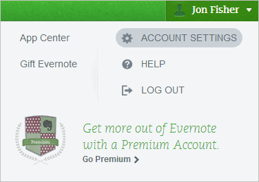 Open-Evernote-Account-Settings