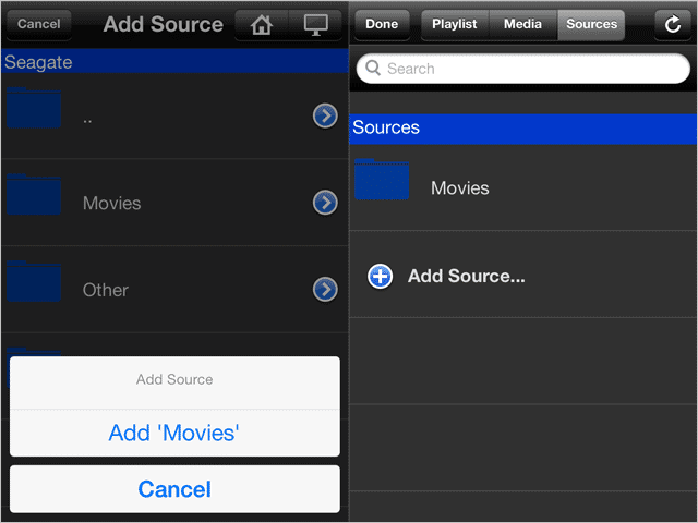 Add-media-sources-to-VLC-player-under-Sybu-Remote-Control-for-VLC-in-iOS