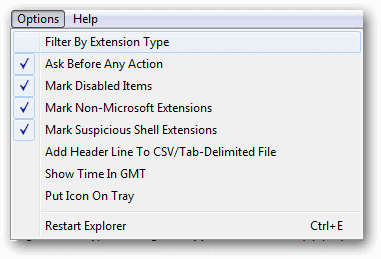 Select-to-filter-by-extension-type-from-the-options-menu-in-ShellExView