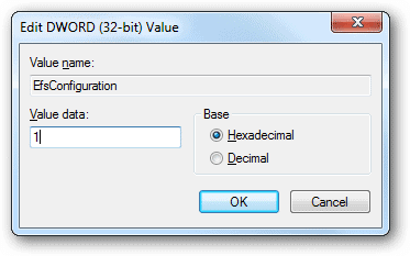 Change-the-EfsConfiguration-value-data-to-1-to-disable-EFS