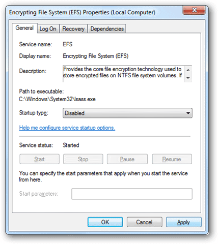 How to Disable the Encrypting File System in Windows