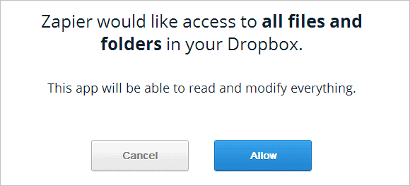 Give-Zapier-access-to-Dropbox