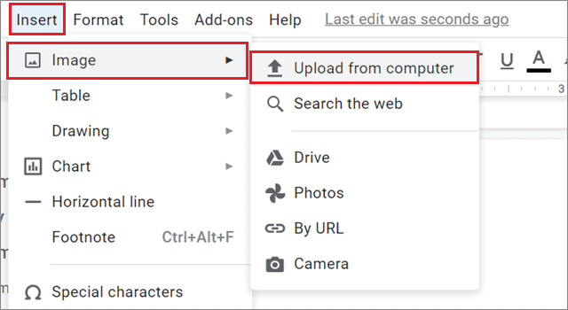 Insert an image in the Google Docs document