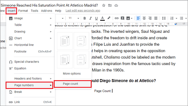 how to add page numbers in google docs from the Insert menu