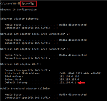 ipconfid command to find network address translation