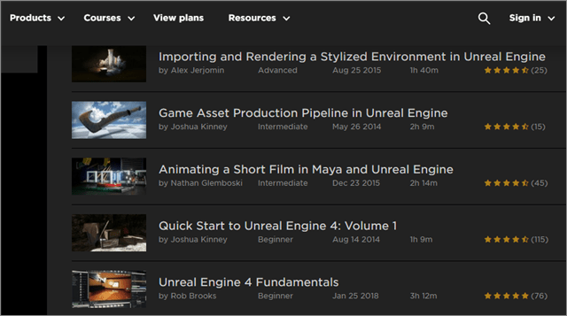 Unreal Engine Online Courses from Pluralsight