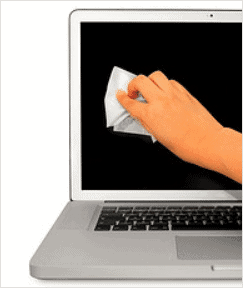 wiping-laptop-monitor-with-cloth