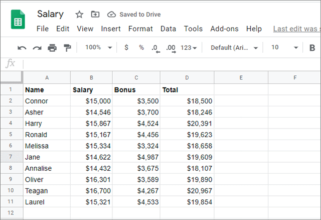 a google sheets salary document