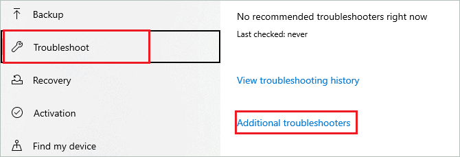 Click on Additional troubleshooters