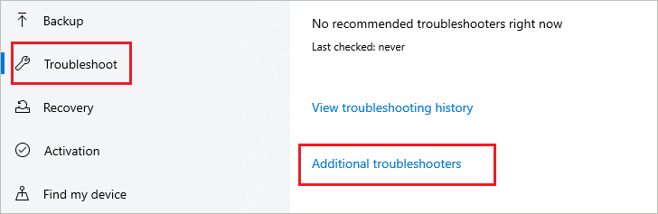 Open Additional troubleshooters to fix  error 0x80240034