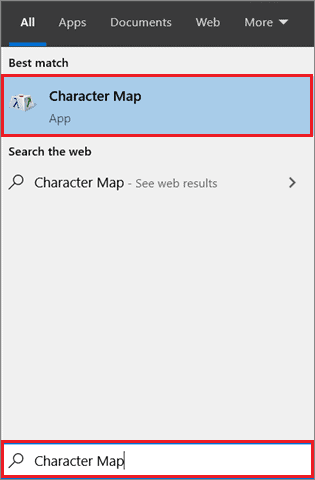 open character map to add degree symbol in word