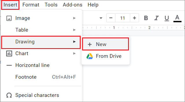Create a new drawing document To Insert Text Box In Google Docs