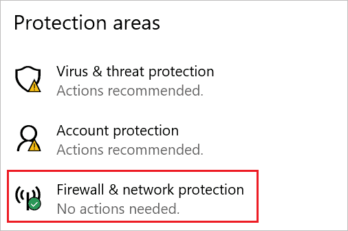 Open Firewall & network protection