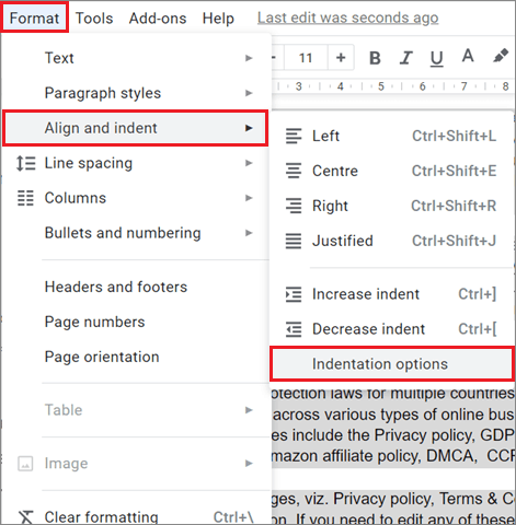 Format the text for How To Do Hanging Indent On Google Docs