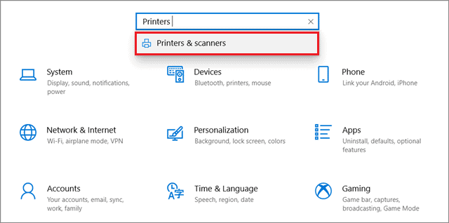 Open Printers and Scanners from Settings