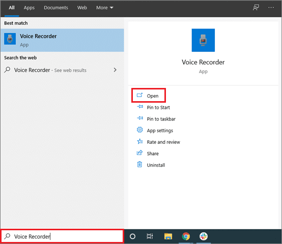 how to record audio on windows 10 - open voice recorder from start menu