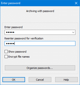Enter the password twice to password protect folder