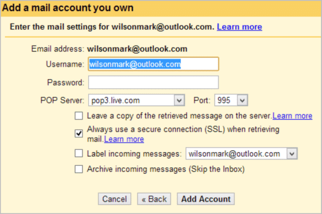 Gmail should be able to detect the settings that should be used in relation to your email account.