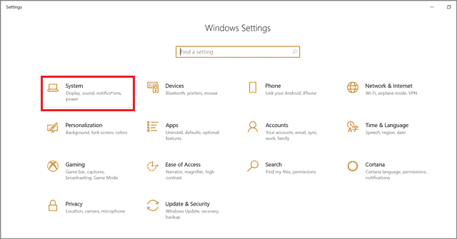 Select the System option