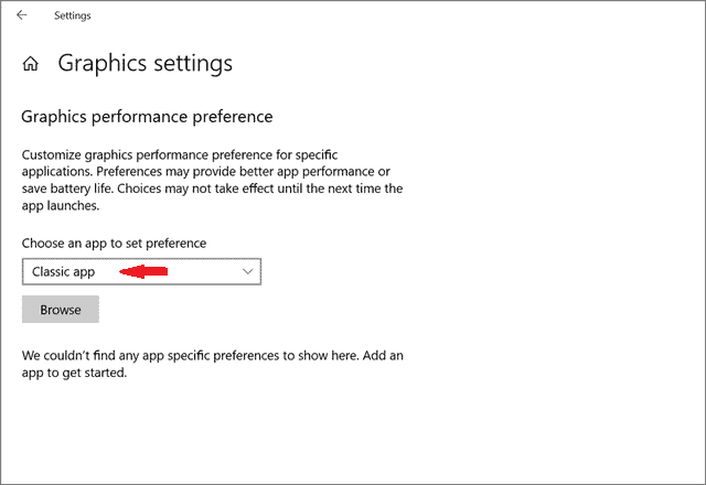 Choose an app to set preference