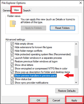 disable preview pane via File Explorer options in Windows 10