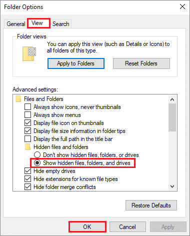 Turn on Show hidden files, folders, and drives