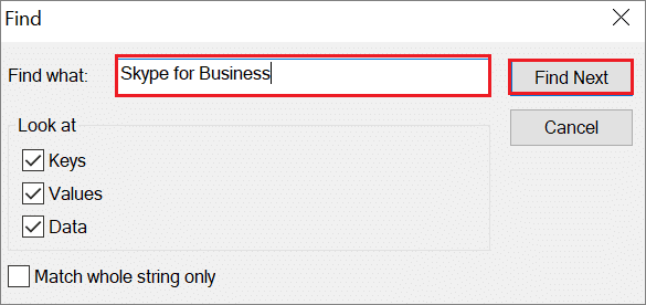 Look for Skype for Business