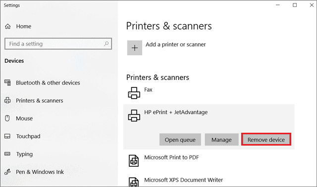 Remove the printer device  to fix Print Spooler Keeps Stopping