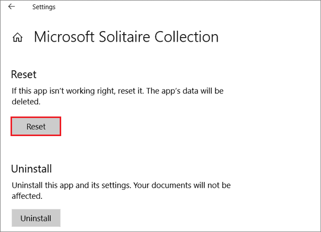 Reset to fix Microsoft Solitaire Collection Is Not Working