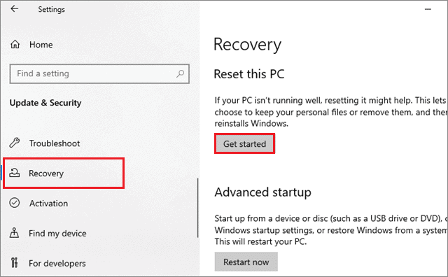 reset the pc to fix windows 10 desktop icons missing