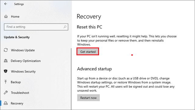 reset the pc to fix can't login to windows 10