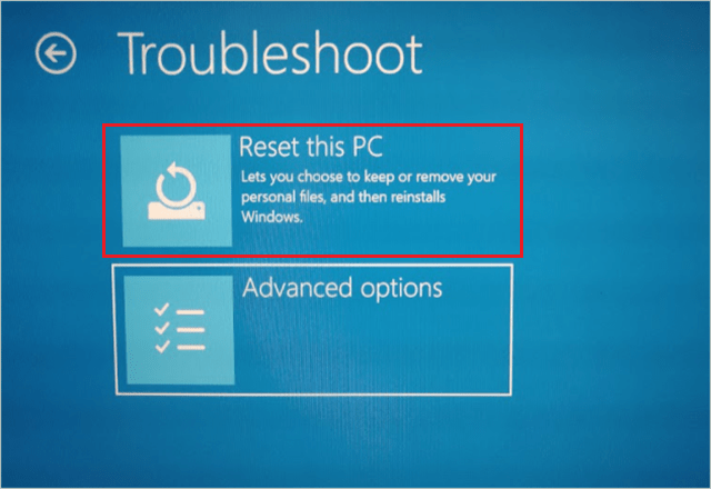 Reset this PC via Windows Recovery Environment