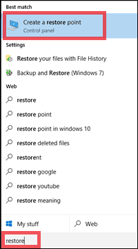 create restore point for how to fix corrupted files