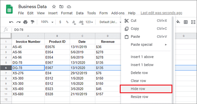 right click to hide rows in google sheets