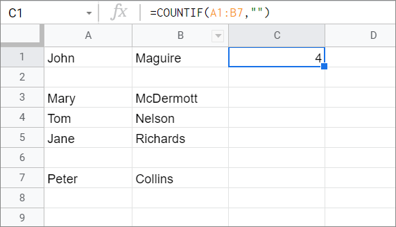 View the result with COUNTIF Google Sheets function