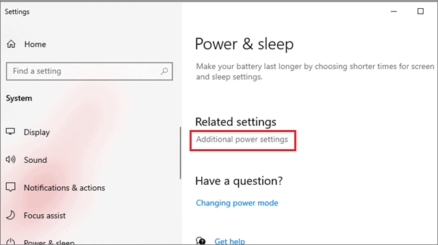 select additional power settings
