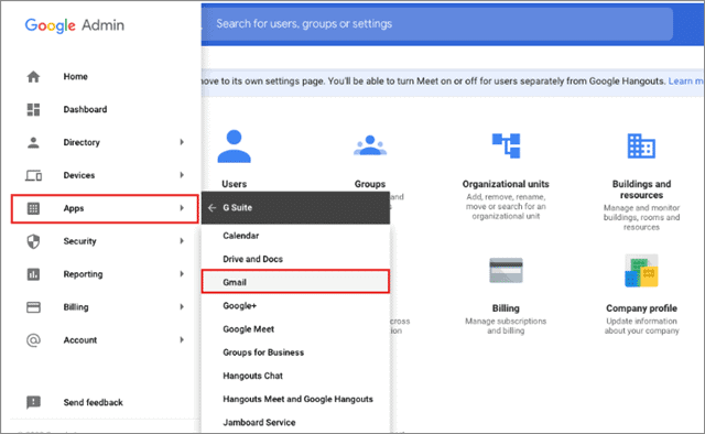Click on Apps and select Gmail