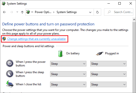 Choose Change settings that are currently unavailable