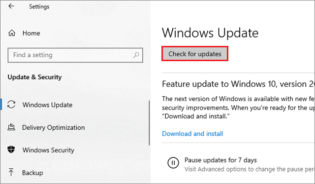 select check for updates to fix second monitor not detected windows 10