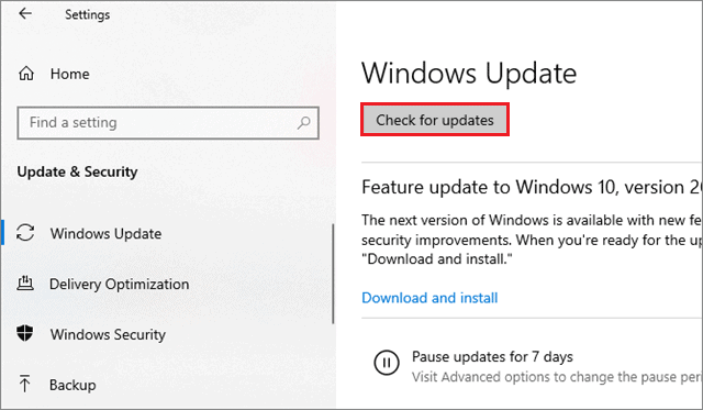 select check for updates to Fix Copy And Paste Not Working In Windows 10